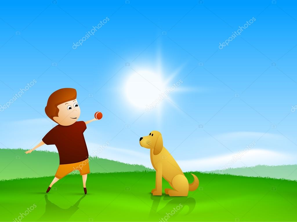 Perfect Happy Friendship Day Background With Cute Little Boy Playing With Puppy Dog.  U2014 Vector By Alliesinteract