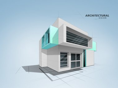 3D conceptional architectural residential designing.