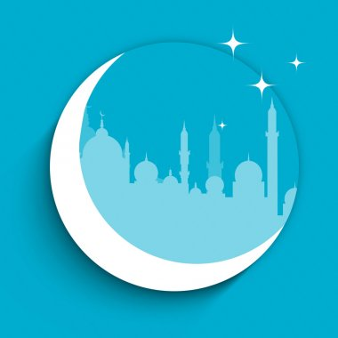 Silhouette of Mosque or Masjid on crescent moon with stars in b