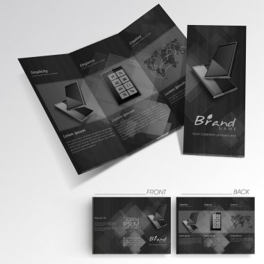 Professional business three fold flyer template, corporate broch