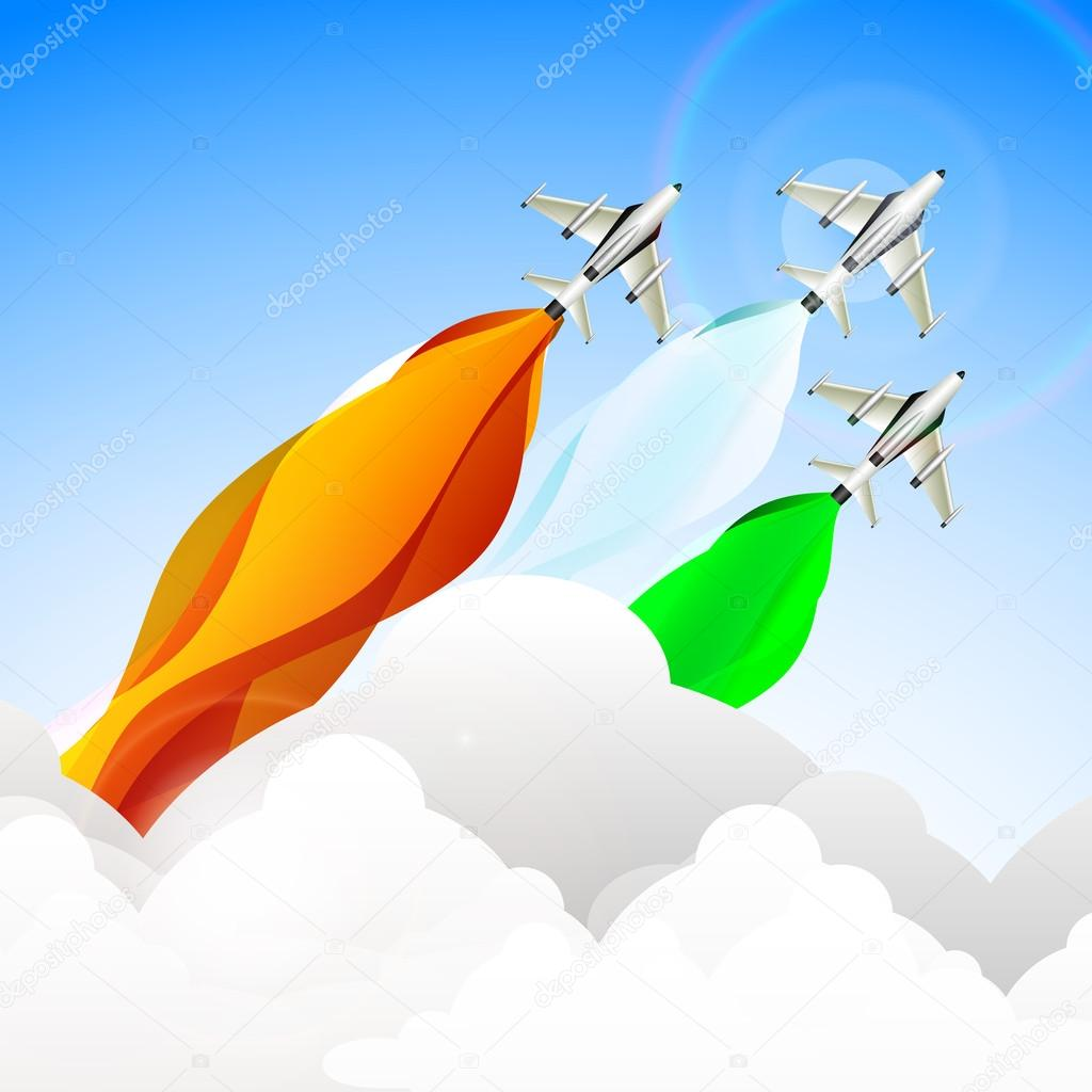 Indian Independence Day or Republic Day concept with take off fi