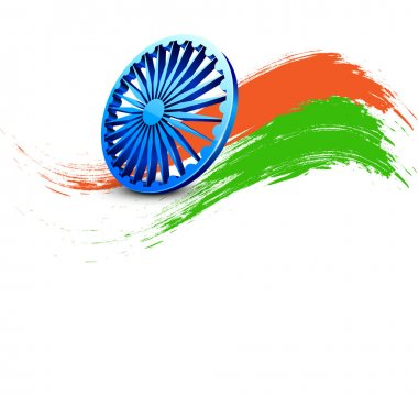 Indian Independence Day background with 3D Ashoka wheel and saff