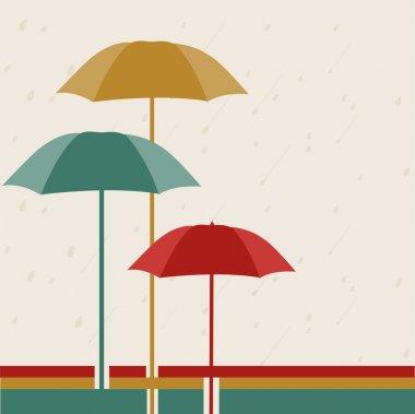 Raindrops with umbrella, rainy season background.