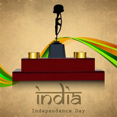 Indian Independence Day national flag colors wave background wit