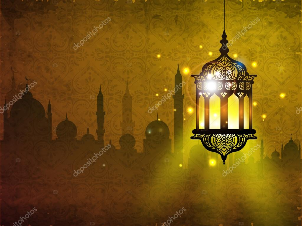 Hanging iIlluminated intricate Arabic Lamp with on shiny abstrac