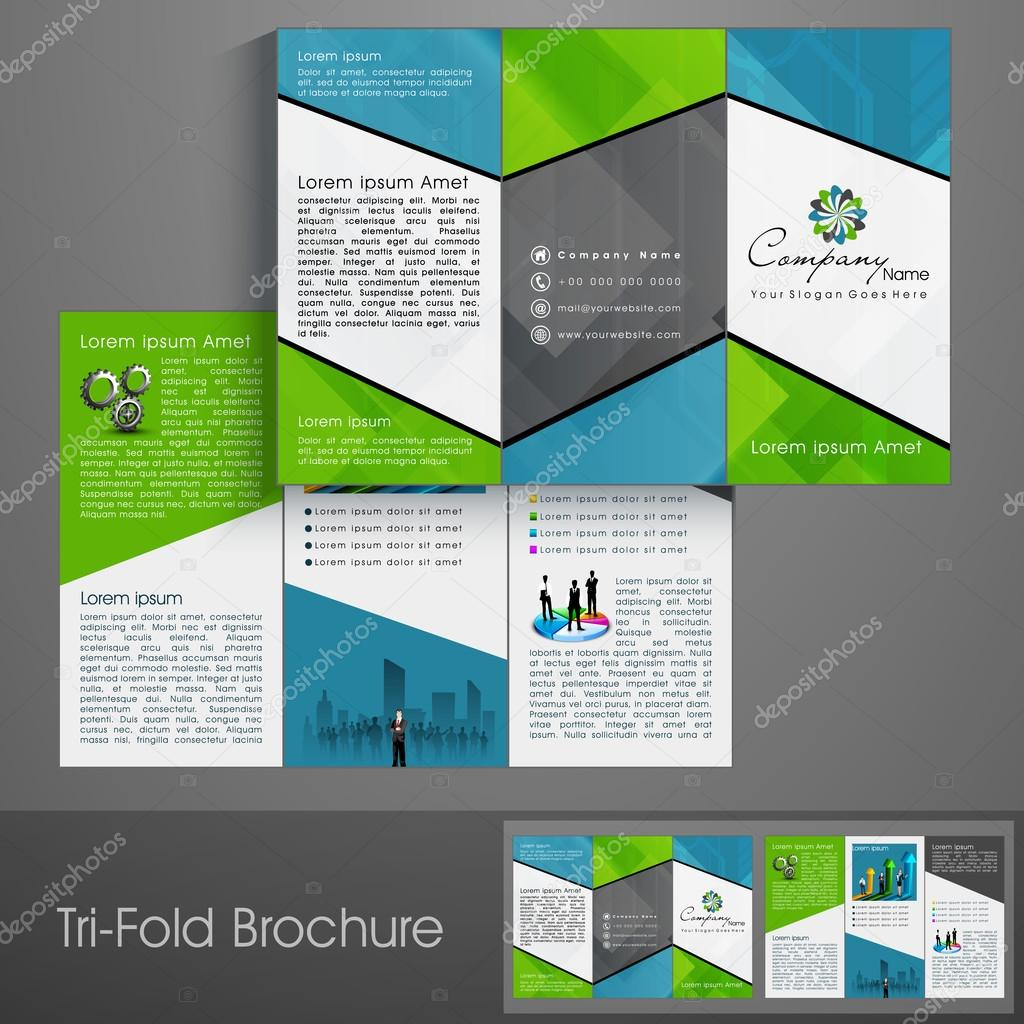 professional business three fold flyer template corporate broch