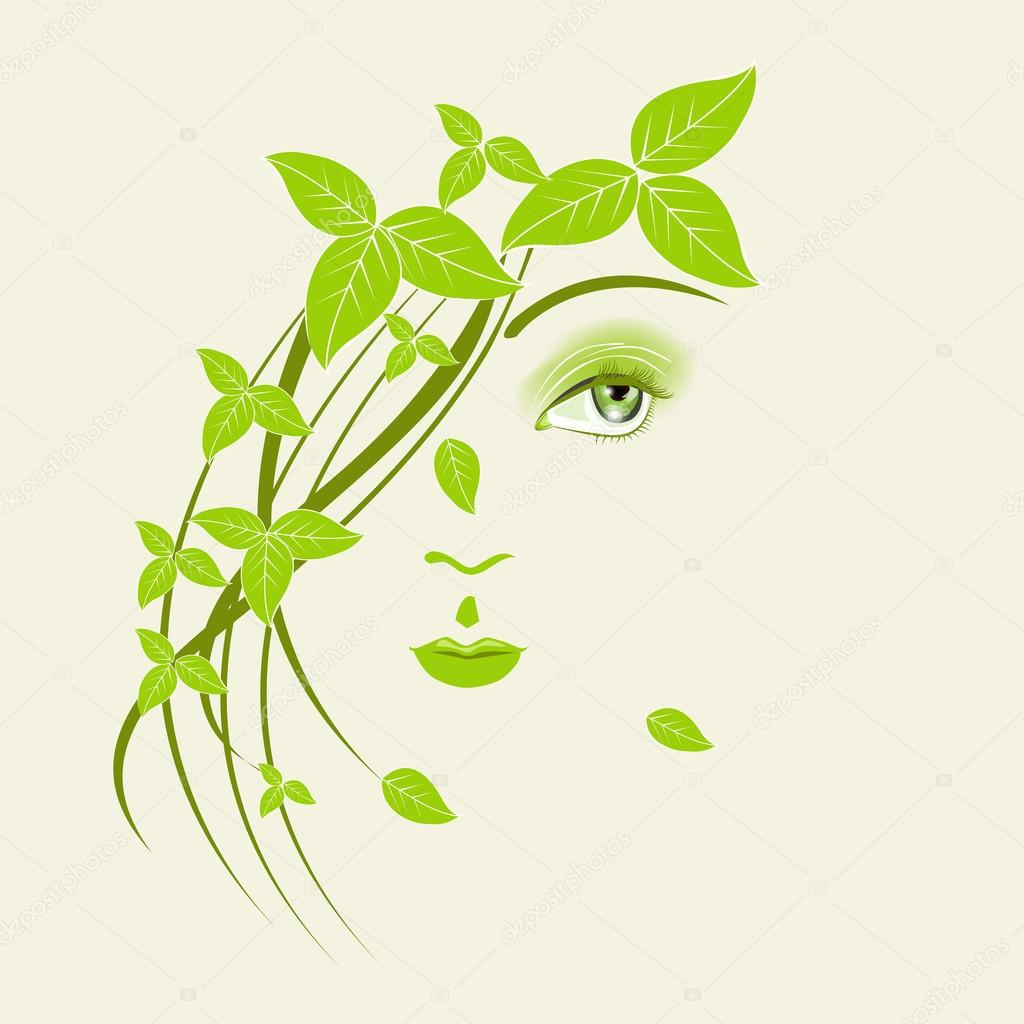 Abstract illustration of a girl with green leaves.