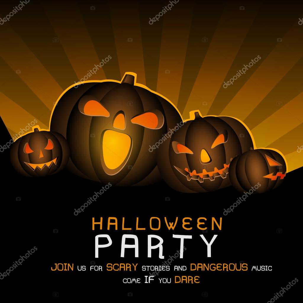 Scary poster, banner or flyer for Halloween Party. — Stock Vector ...