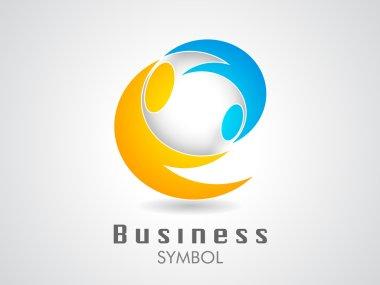 Orange & Blue corporate icon or business symbol on grey backgrou
