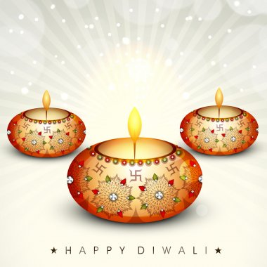Happy Diwali, festival of lights celebration background in India. stock vector
