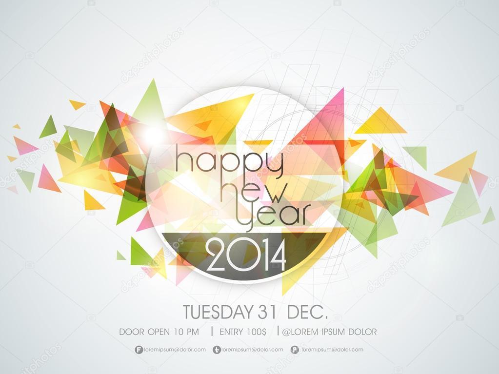 Happy New Year 2014 celebration background.