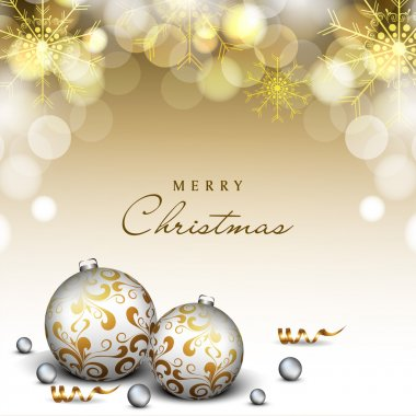 Merry Christmas and Happy New Year 2014 celebration party poster, banner or flyer.