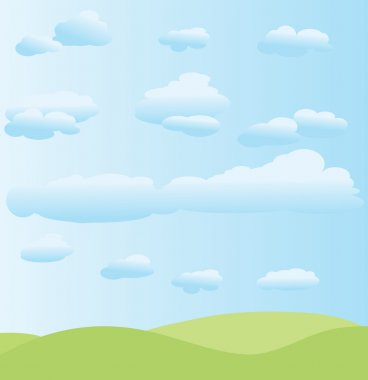 Vector summer background with clouds
