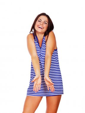 A cute girl is adorably laughing