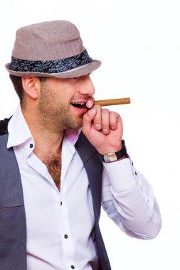 A gentleman is smoking