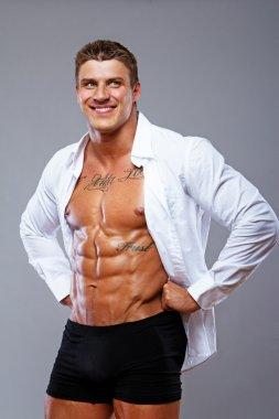 A hot man in a white shirt