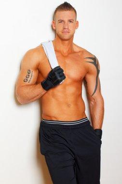 Portrait of muscle man posing