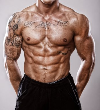 Hot tattooed and pumped male body