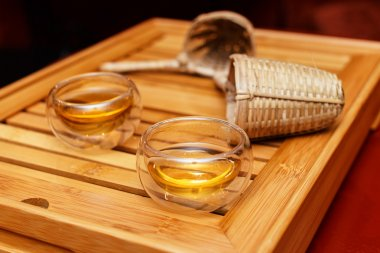 Two glass cups for traditional tea ceremony