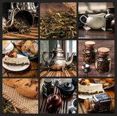 Fotografia collage a tema tè con barattoli, biscotti, torte, piatti e piattini