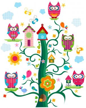 Colorful birds tree stock vector