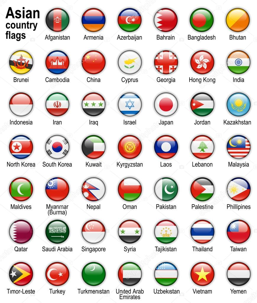Asian country flags