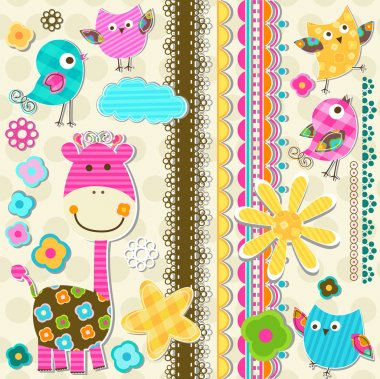 Cute giraffe and birds