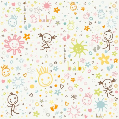 Baby background, colorful cute elements clip art vector