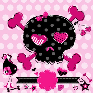 Cute aggressive girlish black and red skull on pink background stock vector