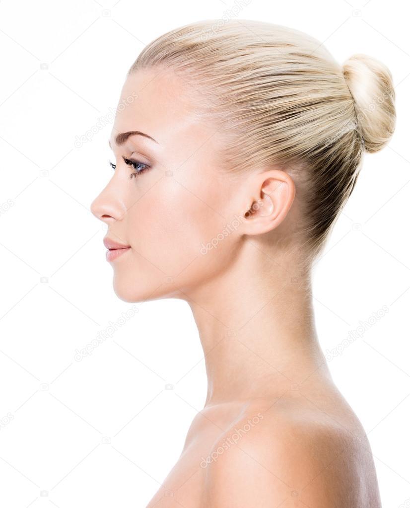 Profile Portrait Of Young Blond Woman  U2014 Stock Photo