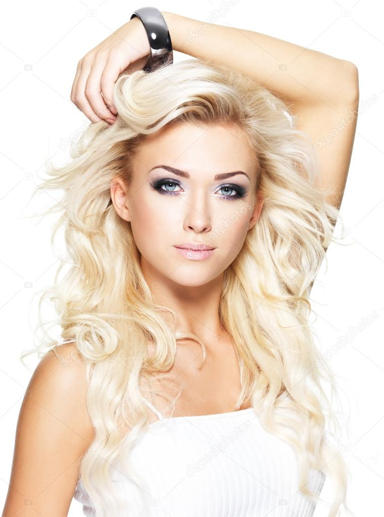 Beautiful Blonde Woman With Long Curly Hair