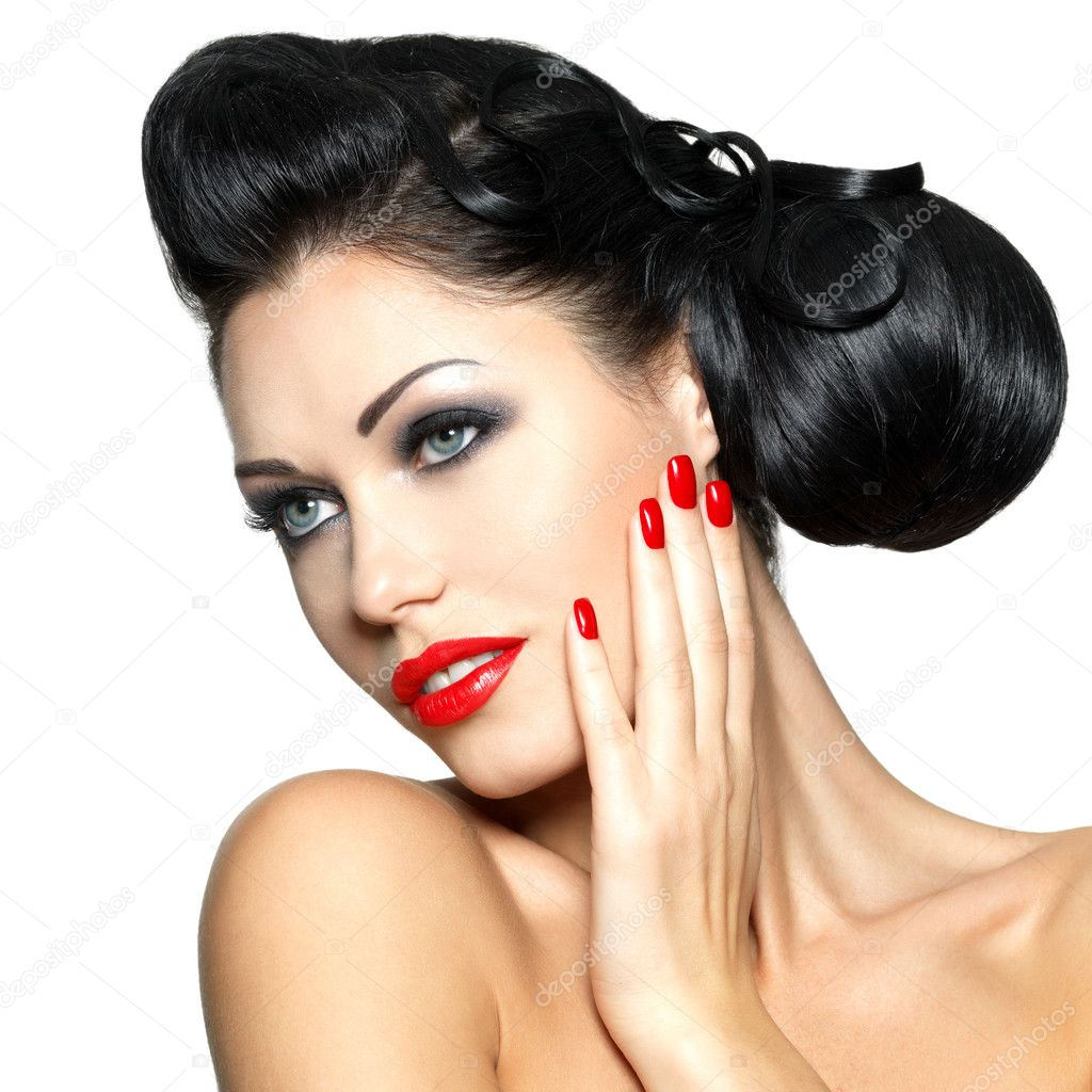 Fashion woman with red lips, nails and creative hairstyle — Stock ...