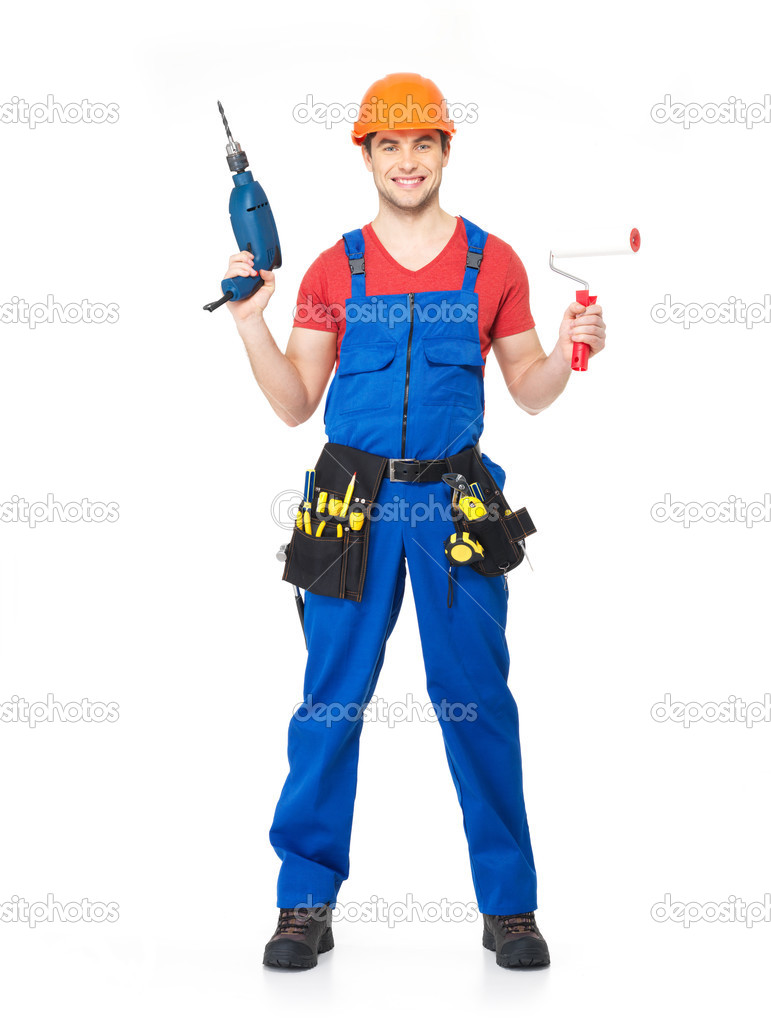handyman with tools full portrait isolated u2014 stock photo