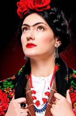 Elegant lady like Frida Khalo