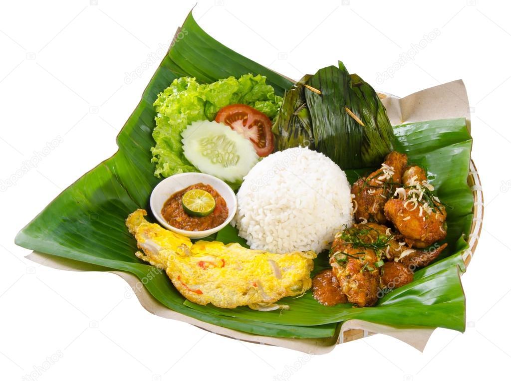 Indonesische Traditionele Gerechten Kip Vis En Groenten