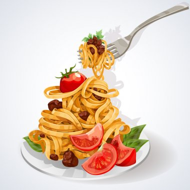 Pasta with tomato and meat sauce on a plate and fork