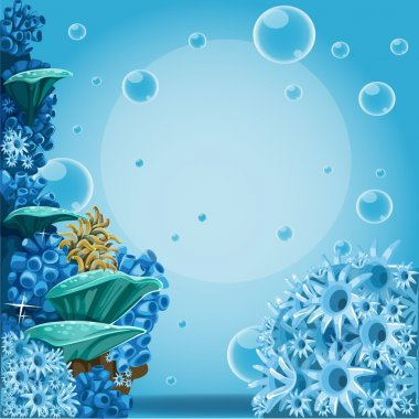 Deep sea blue background with actin and corals. Banner for your text