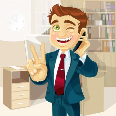 Business man in office talking on the phone and makes the sign of peace
