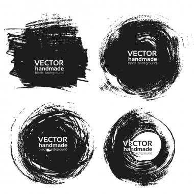 Vector beautiful handmade black strokes- backgrounds painted by brush stock vector
