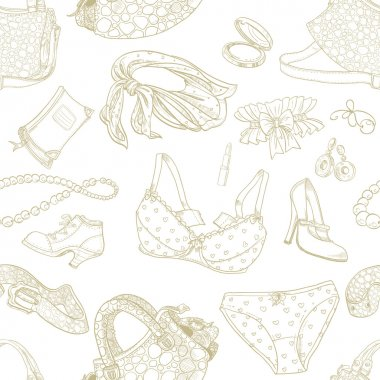 Seamless pattern of female subjects - underwear, cosmetics, shoes and bags