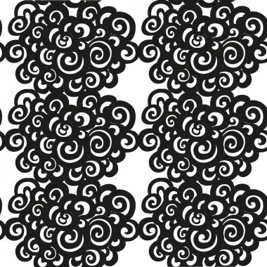 Abstract seamless black and white pattern of whorls