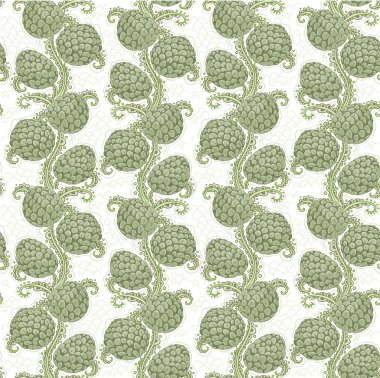 Big seamless decorative pattern of hop cones