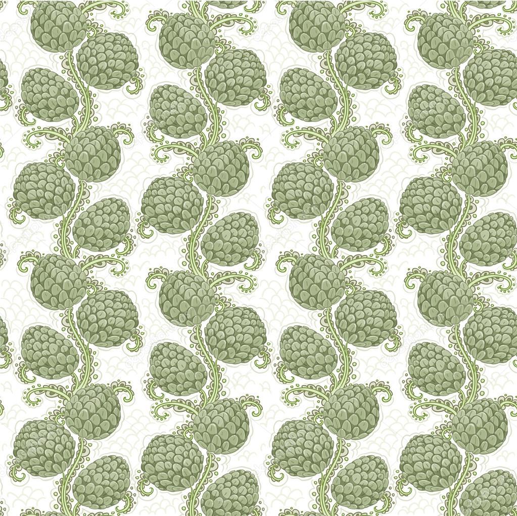 Big seamless decorative pattern of hop cones