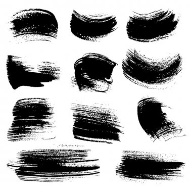 Textured brush strokes drawn a flat brush and ink set 4