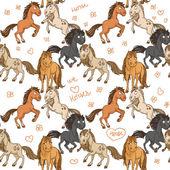 bezešvé pattern roztomilý koní dovádění ve svobodě