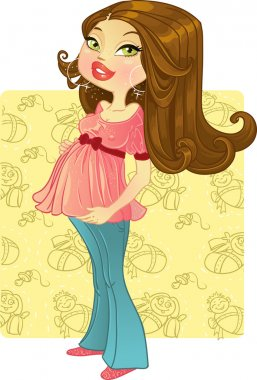 Pretty pregnant woman on baby background