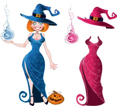 Pretty witch with fireball in blue dress and pink batch of suit