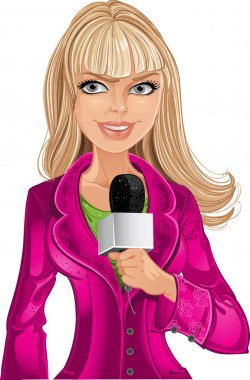 Reporter blond girl in pink with microphone
