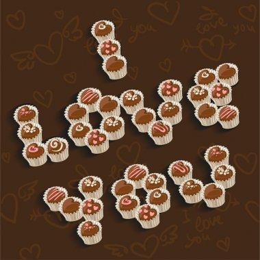 I Love you inscription of delicious chocolates
