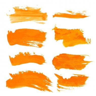 Set orange gouashe realistic thick paint strokes